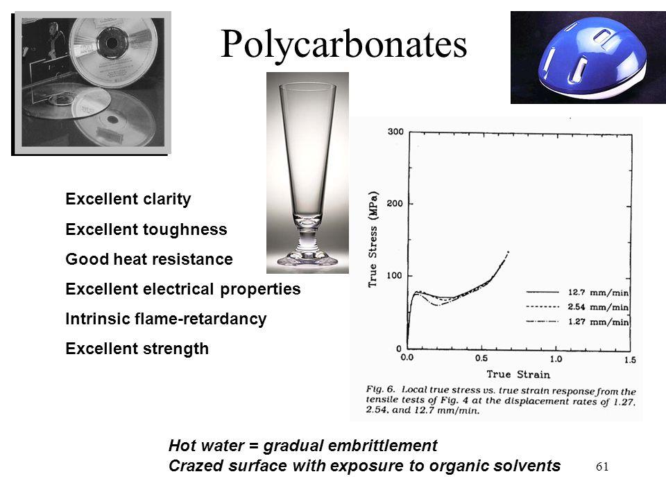 Polycarbonates Excellent clarity Excellent toughness