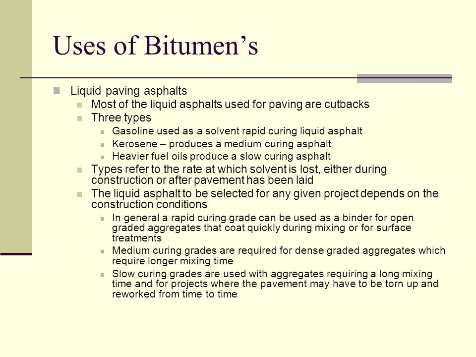 Uses of Bitumen's Liquid paving asphalts