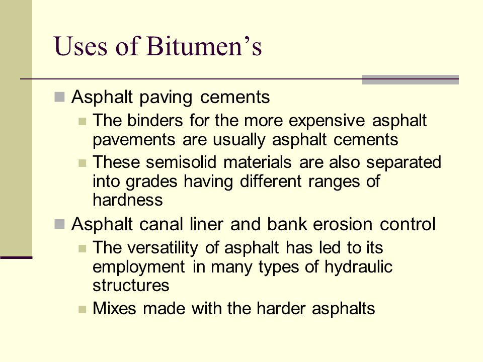 Uses of Bitumen's Asphalt paving cements