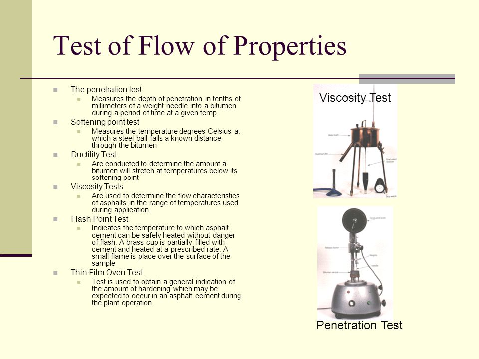 Test of Flow of Properties