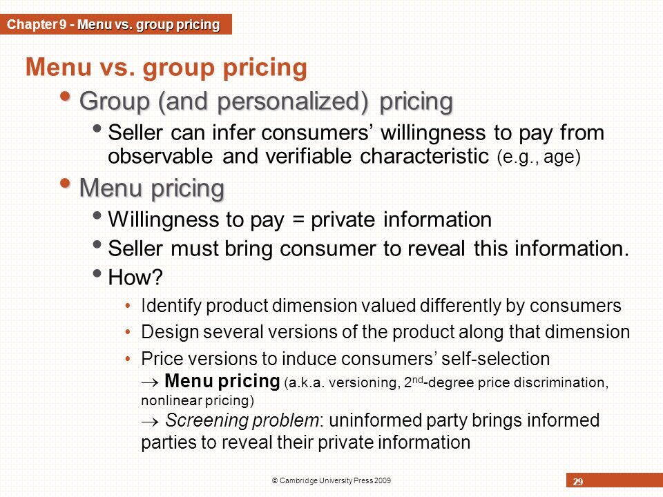 Chapter 9 - Menu vs. group pricing