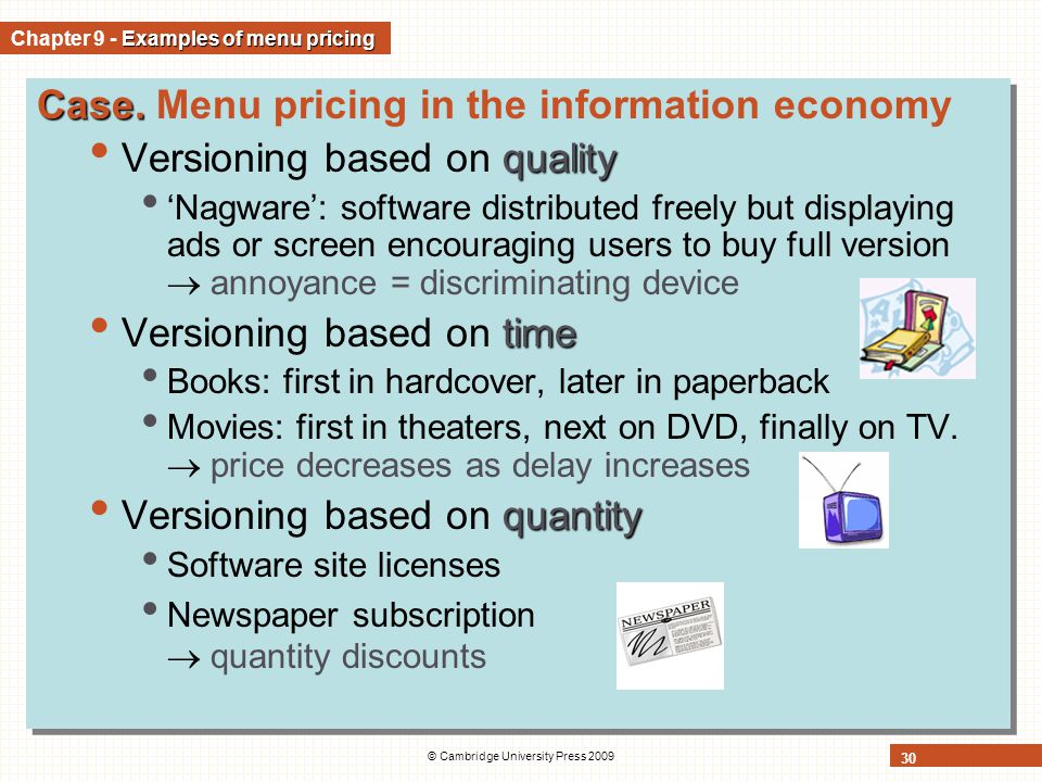 Chapter 9 - Examples of menu pricing