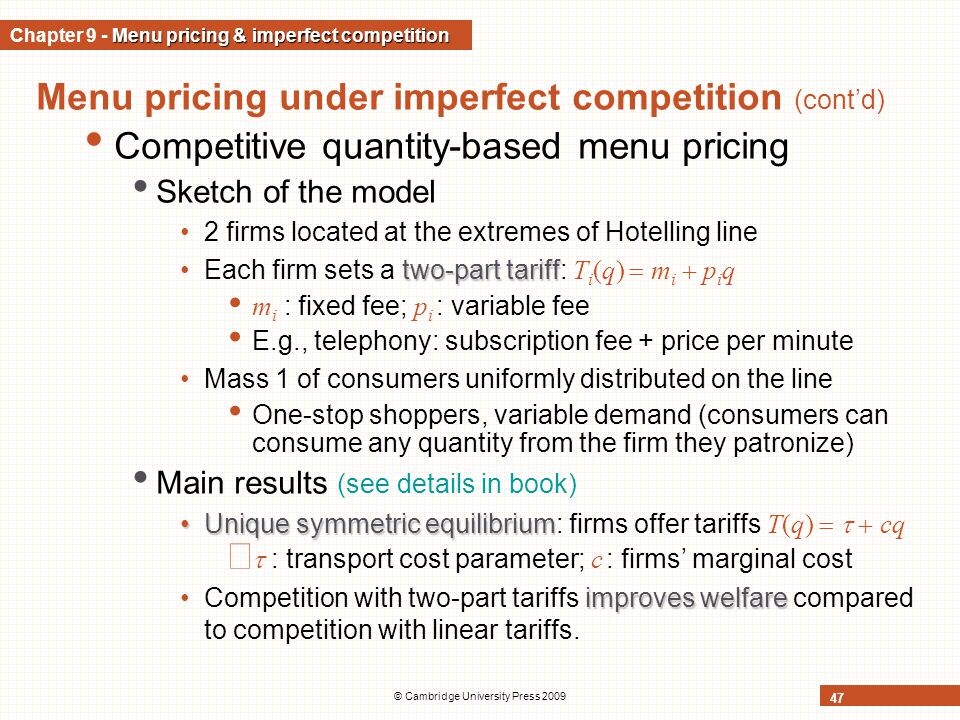 Chapter 9 - Menu pricing & imperfect competition