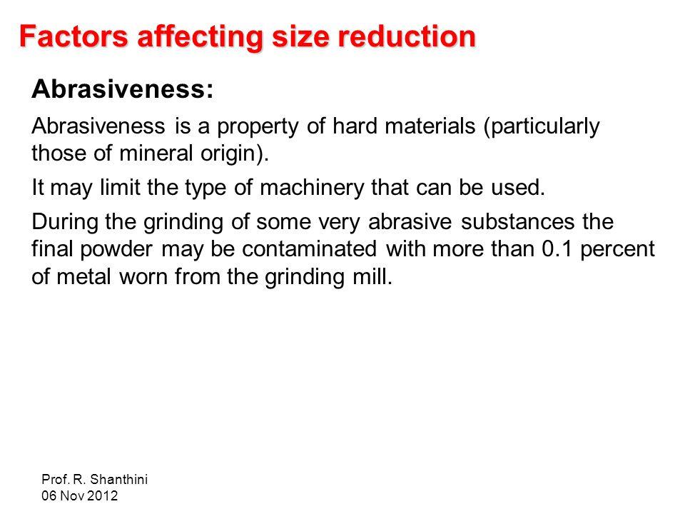 Factors affecting size reduction