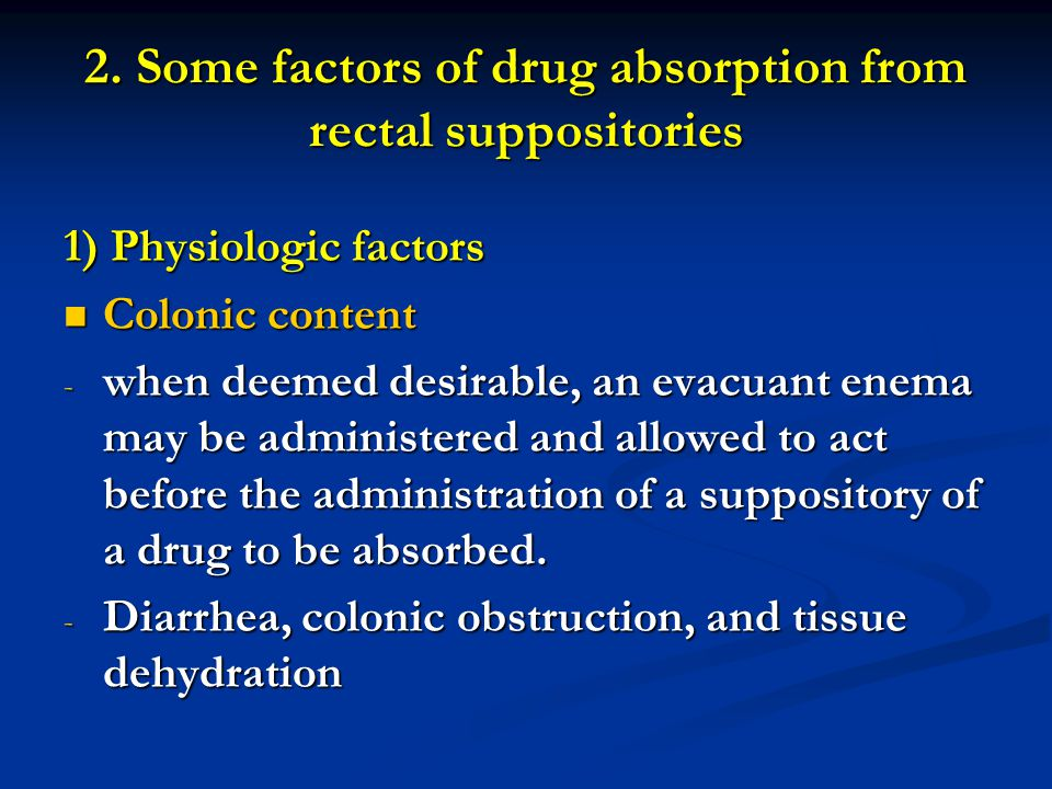 2. Some factors of drug absorption from rectal suppositories
