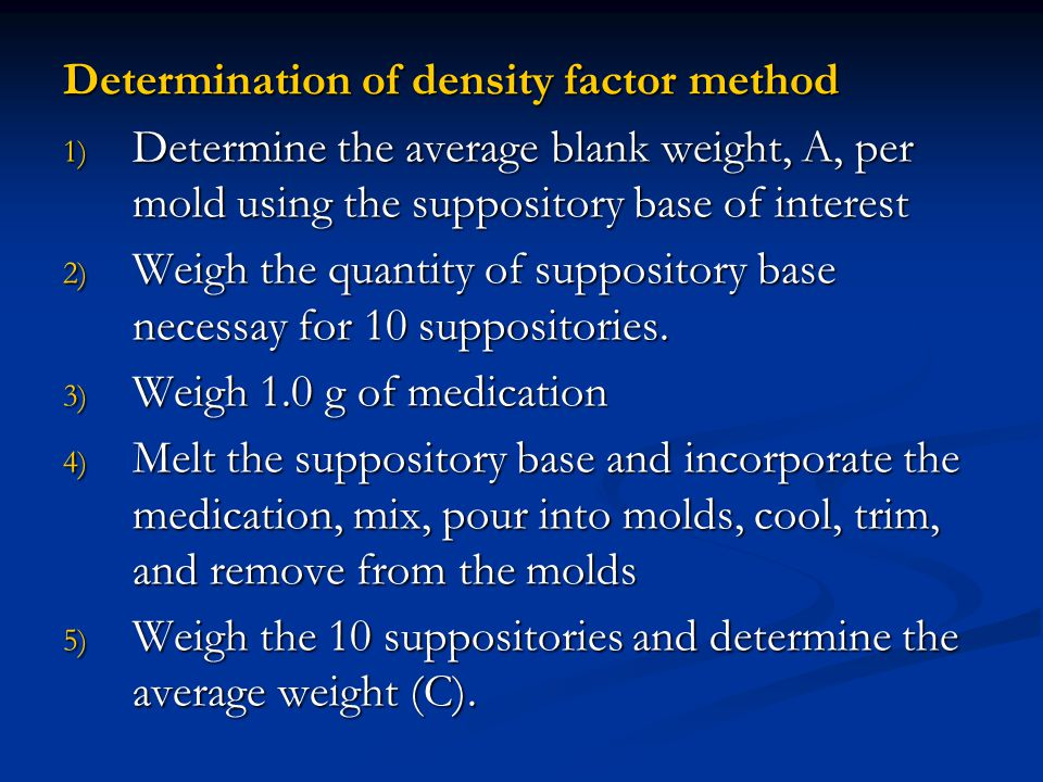 Determination of density factor method