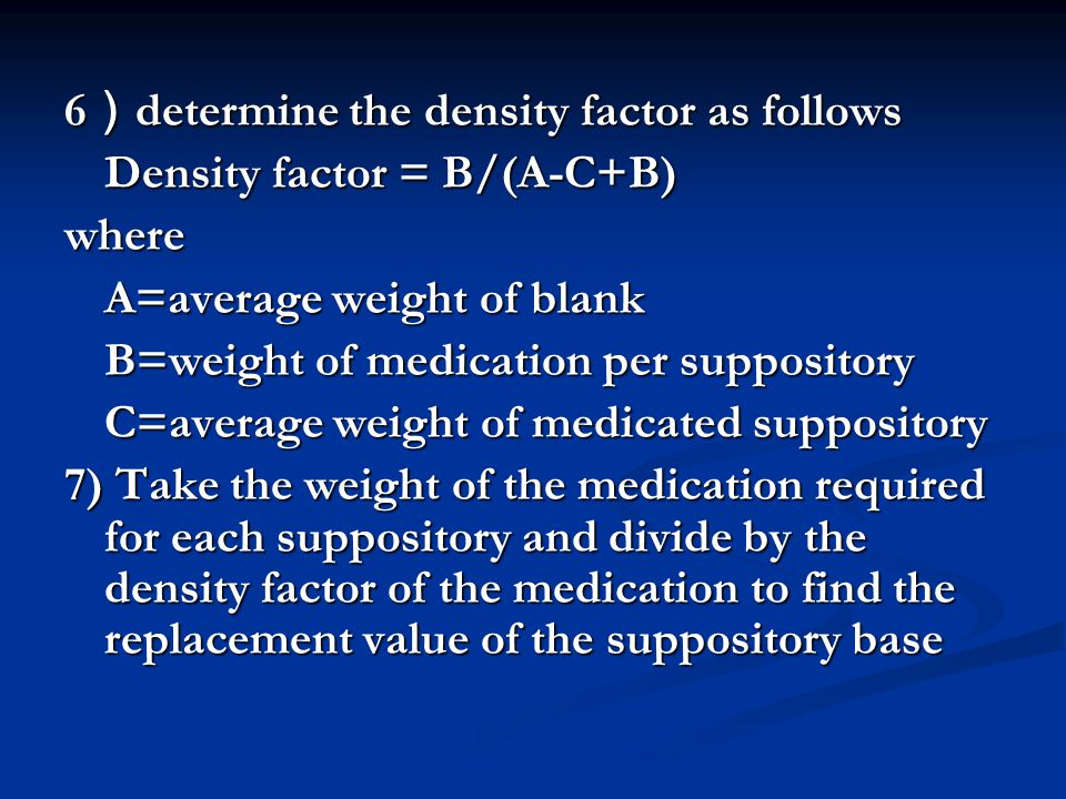 6)determine the density factor as follows