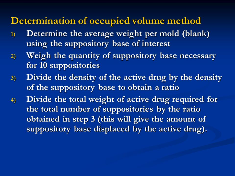 Determination of occupied volume method