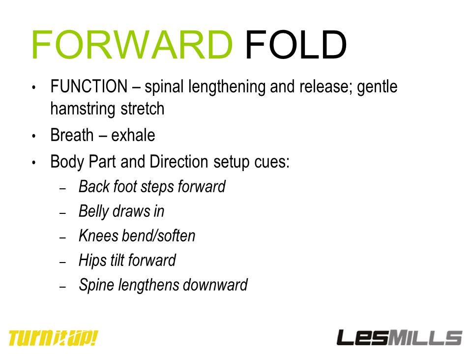 FORWARD FOLD FUNCTION – spinal lengthening and release; gentle hamstring stretch. Breath – exhale.