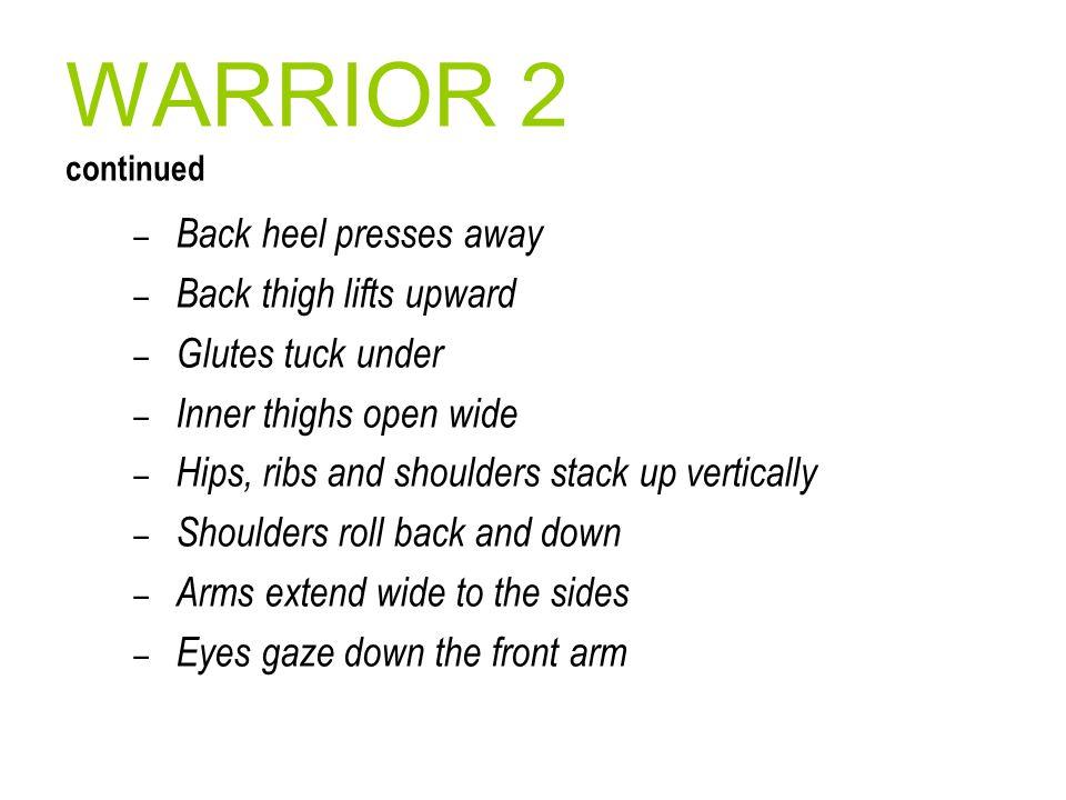 WARRIOR 2 continued Back heel presses away Back thigh lifts upward
