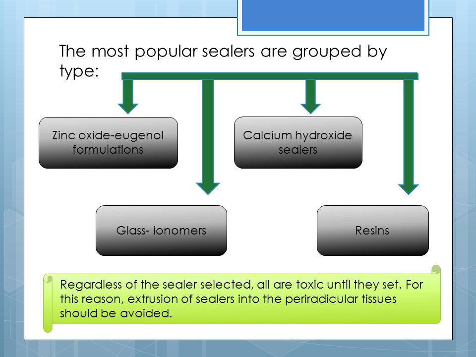 The most popular sealers are grouped by type: