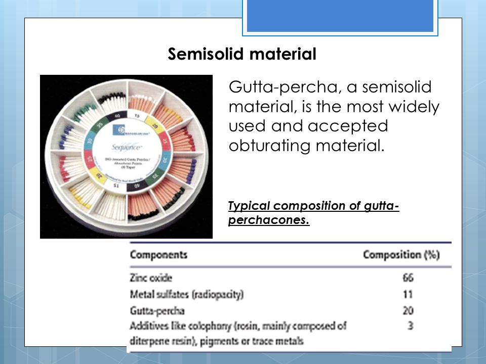 Semisolid material Gutta-percha, a semisolid material, is the most widely used and accepted obturating material.