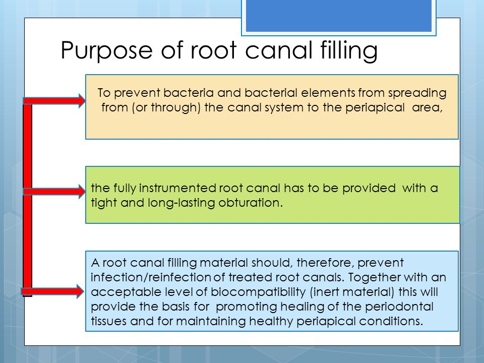 Purpose of root canal filling