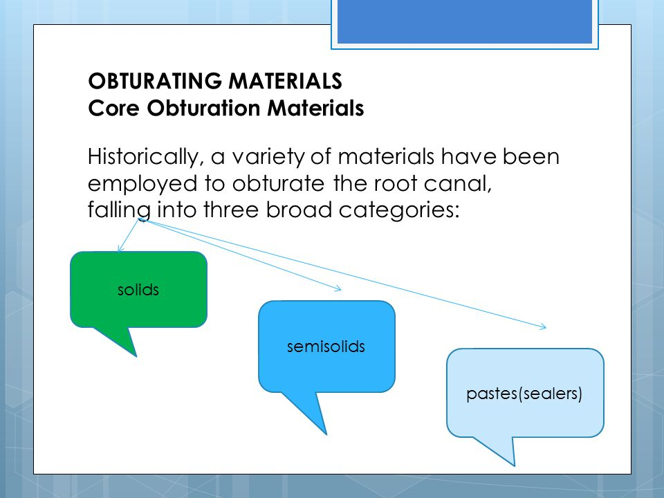 OBTURATING MATERIALS Core Obturation Materials
