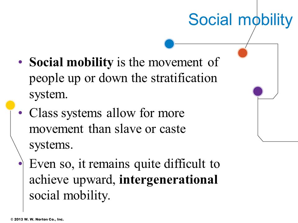 Social mobility Social mobility is the movement of people up or down the stratification system.