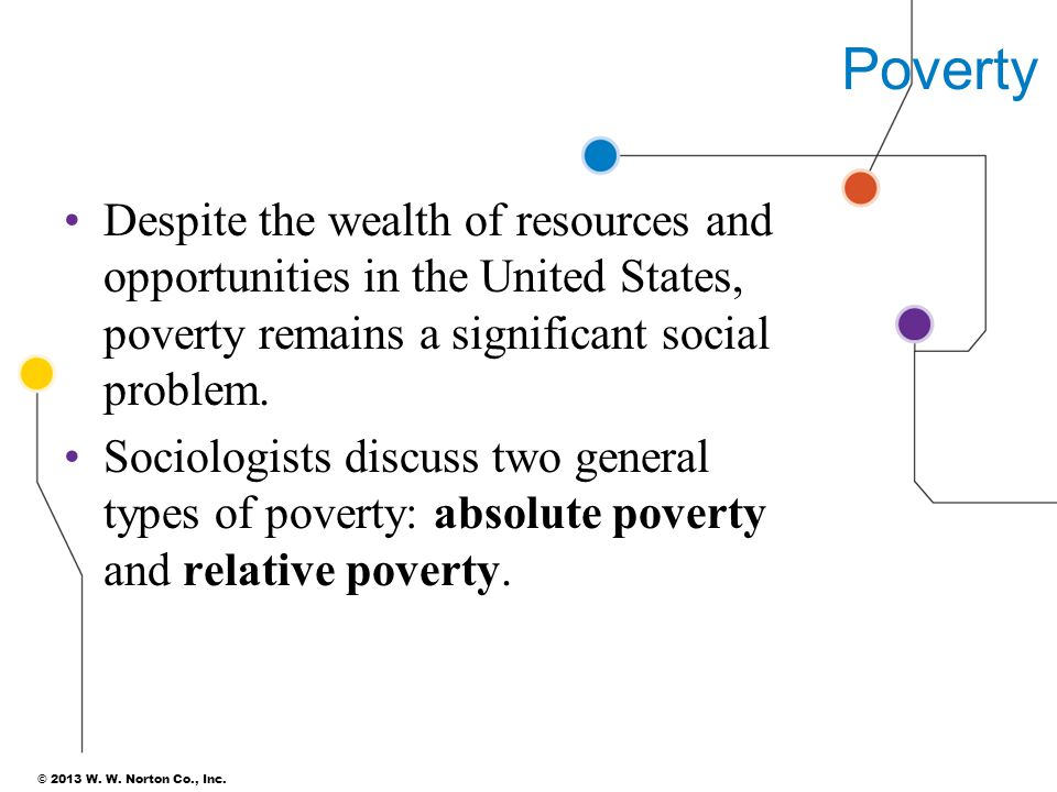Poverty Despite the wealth of resources and opportunities in the United States, poverty remains a significant social problem.