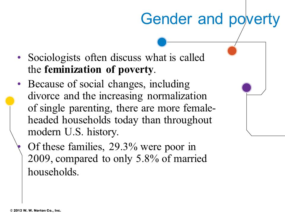 Gender and poverty Sociologists often discuss what is called the feminization of poverty.