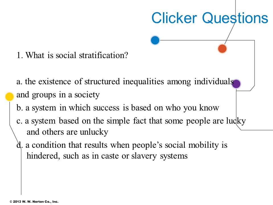 Clicker Questions 1. What is social stratification