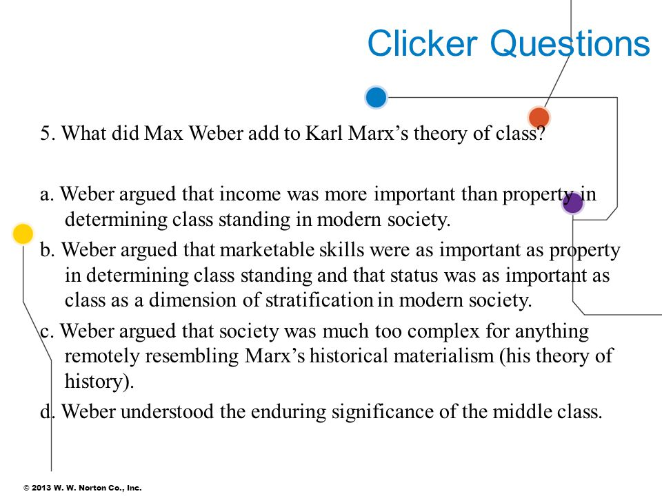 Clicker Questions 5. What did Max Weber add to Karl Marx's theory of class