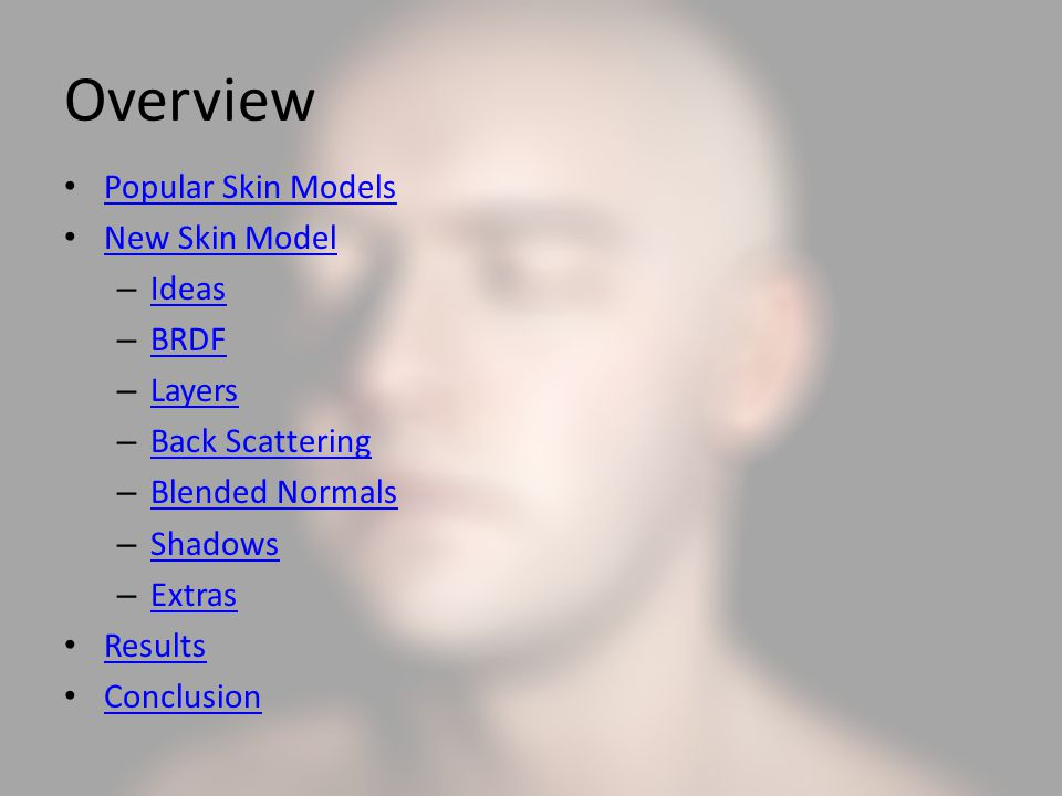 Overview Popular Skin Models New Skin Model Ideas BRDF Layers