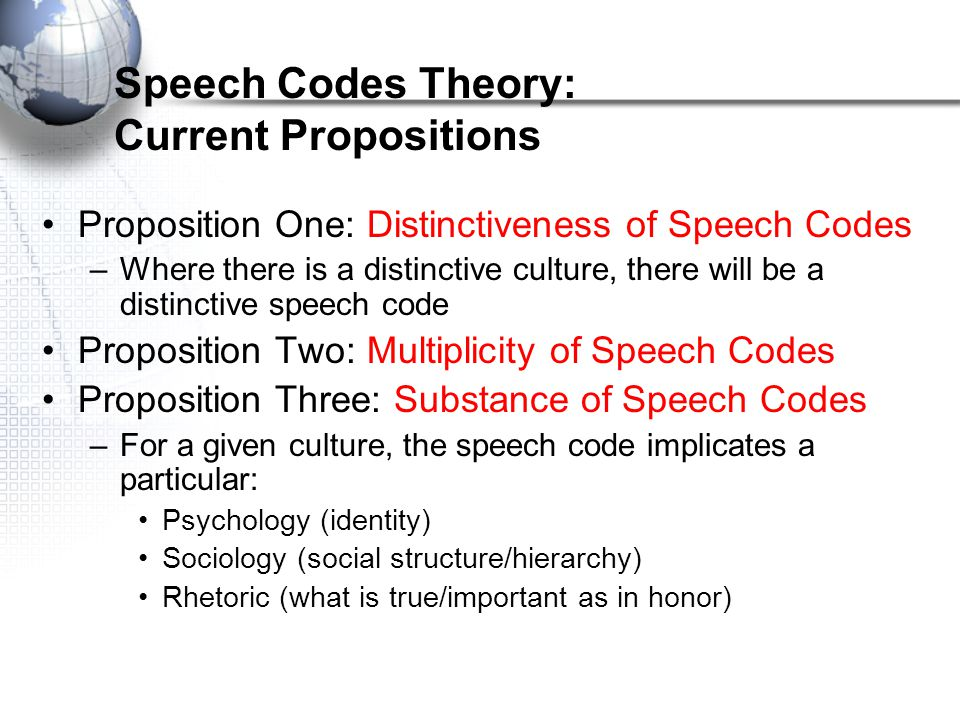 Speech Codes Theory: Current Propositions