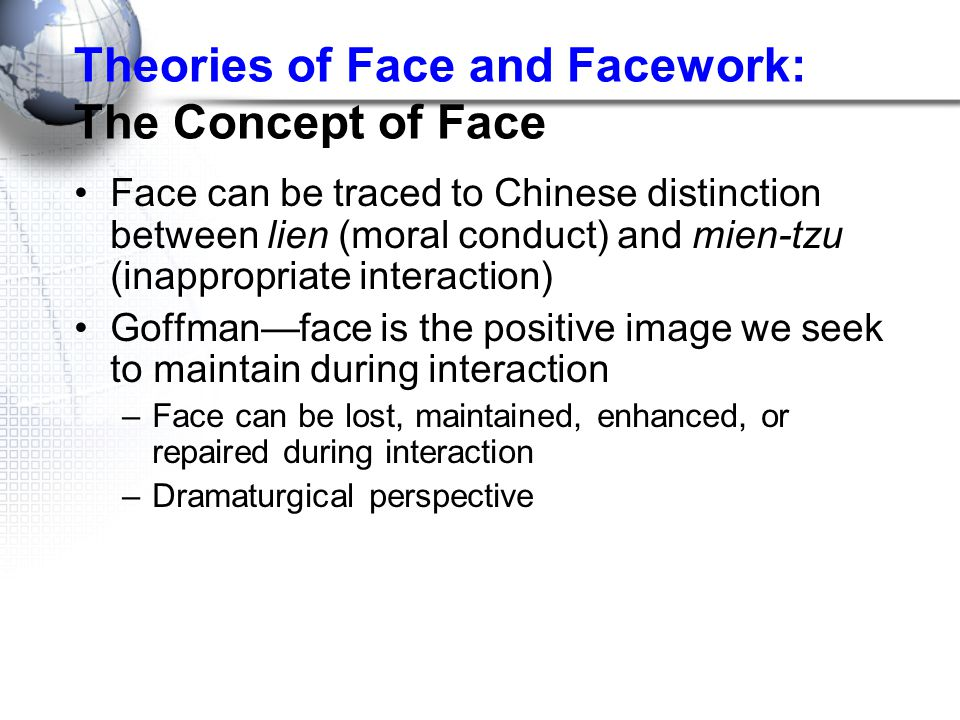Theories of Face and Facework: The Concept of Face