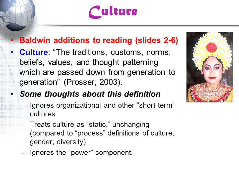 Culture Baldwin additions to reading (slides 2-6)