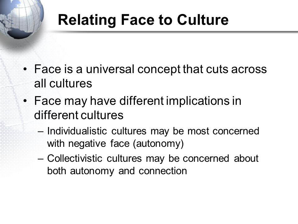 Relating Face to Culture