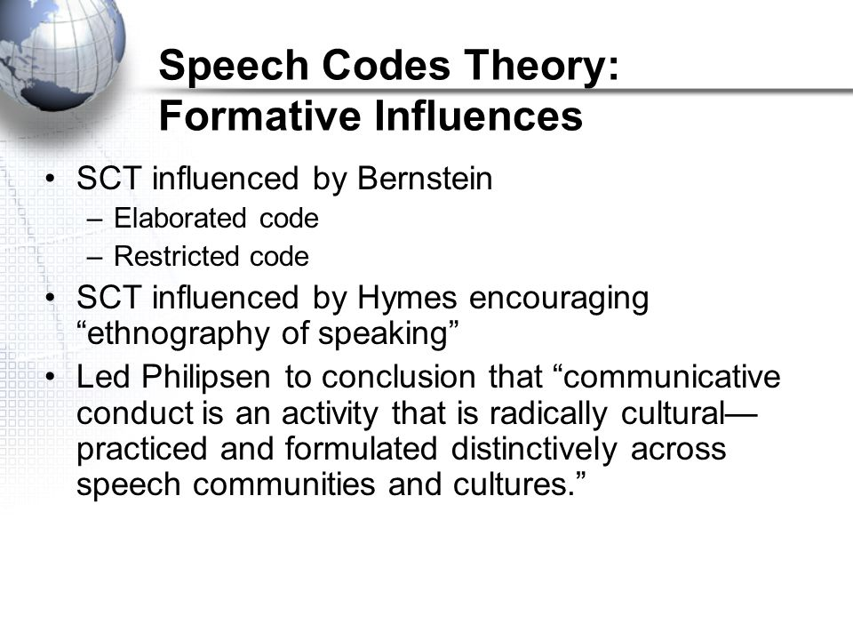 Speech Codes Theory: Formative Influences