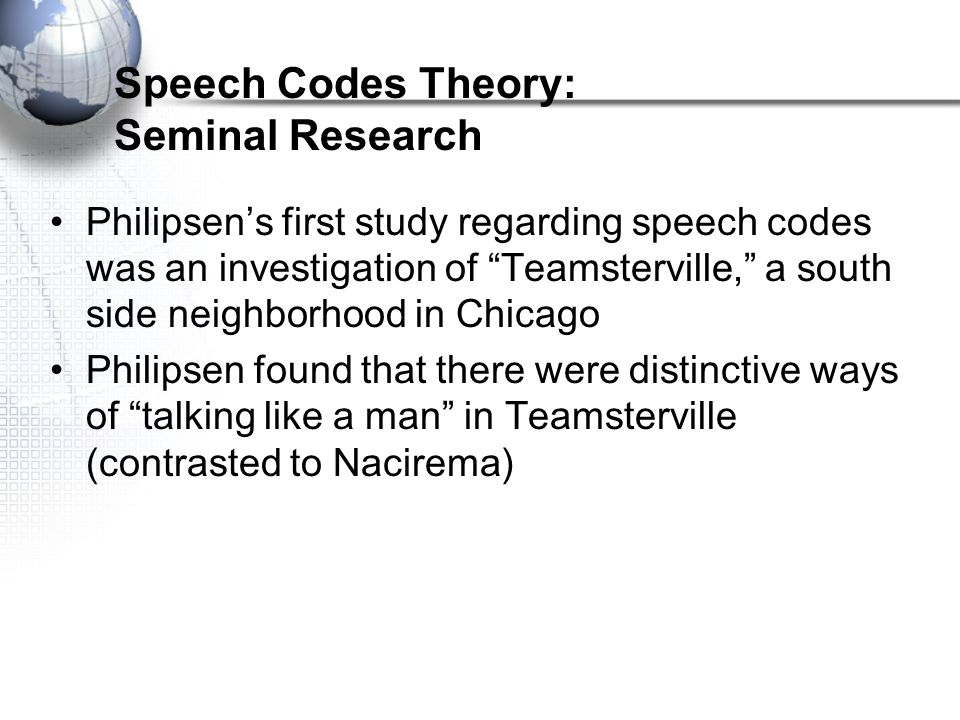 Speech Codes Theory: Seminal Research