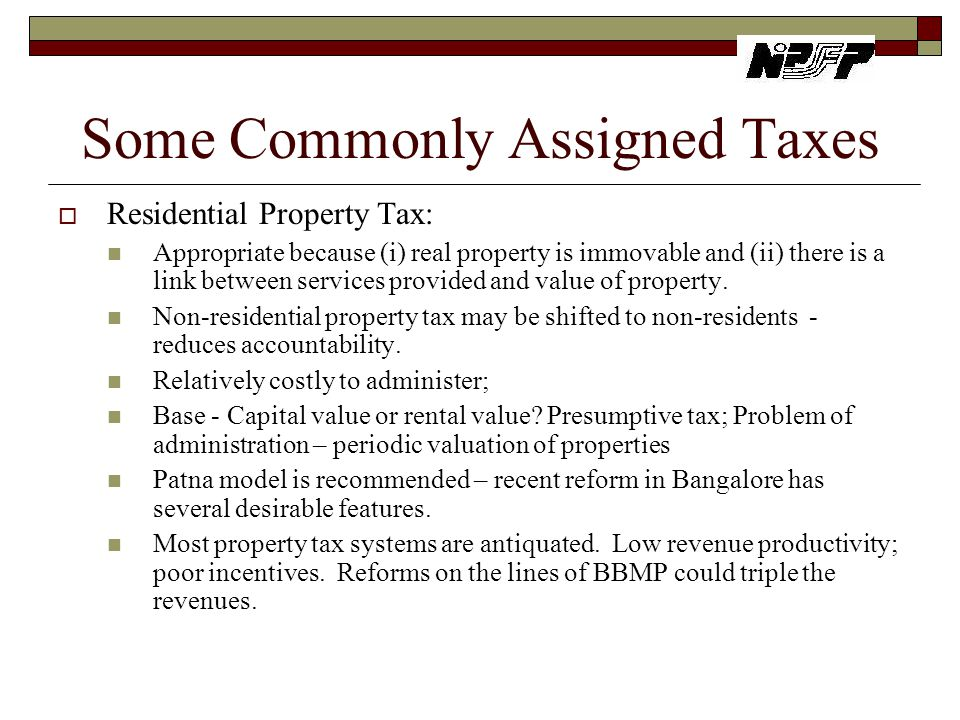 Some Commonly Assigned Taxes