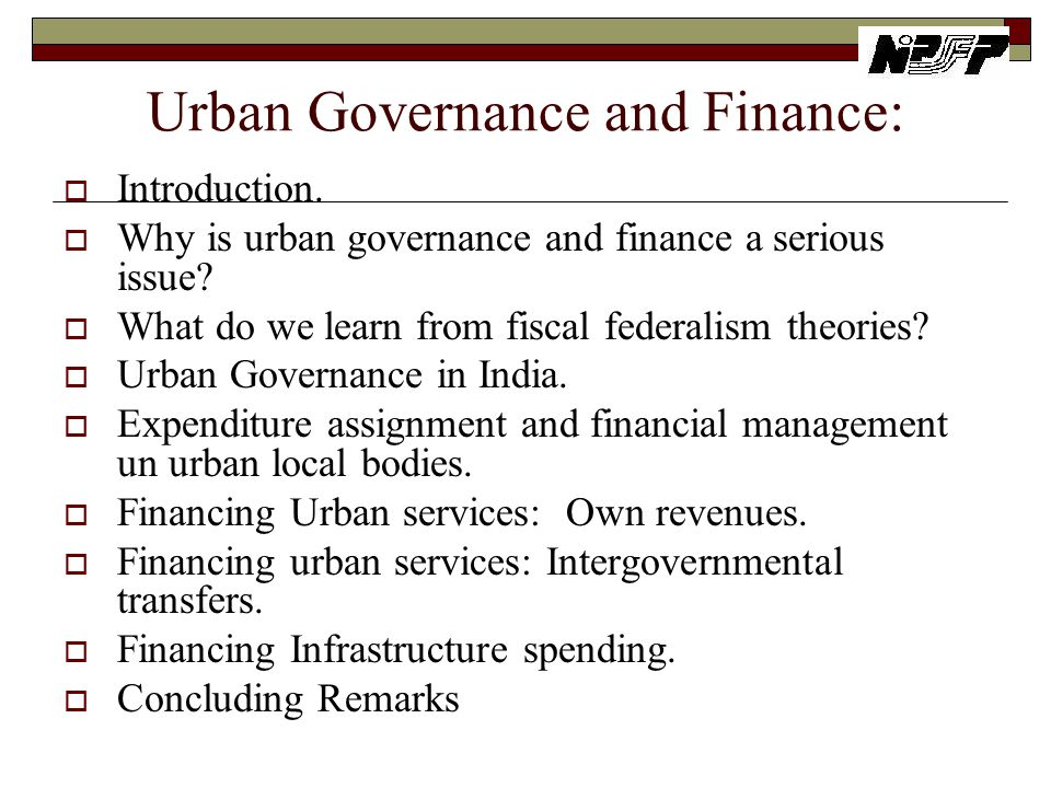 Urban Governance and Finance: