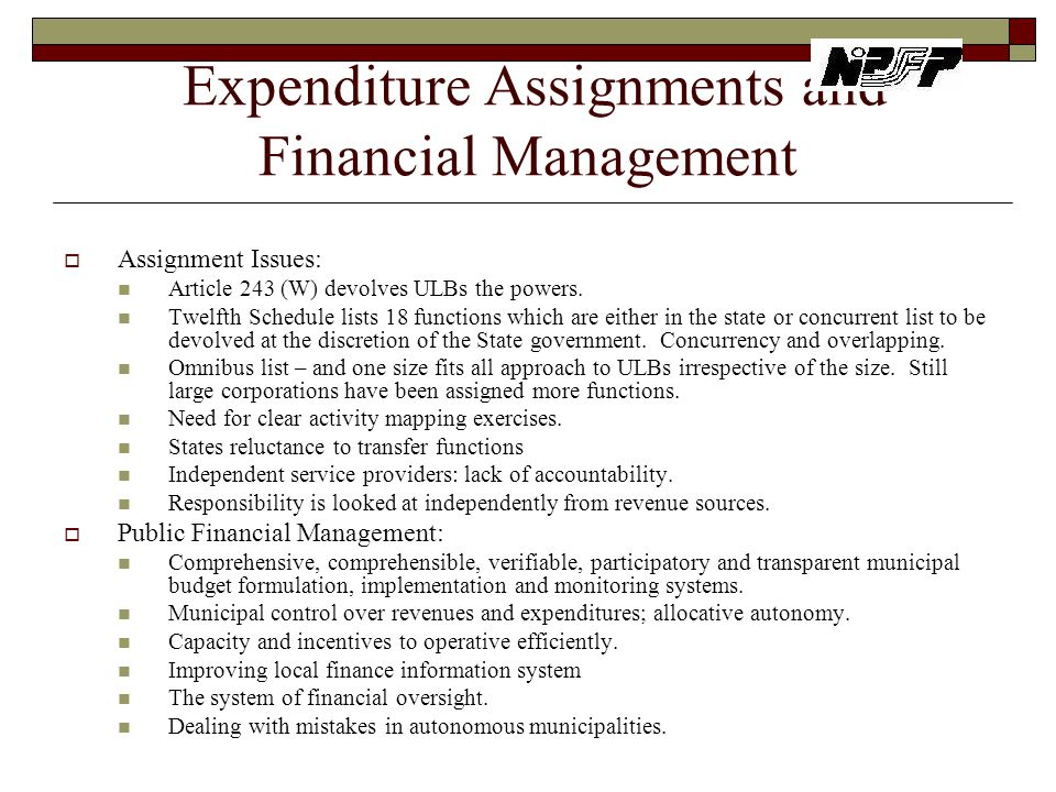 Expenditure Assignments and Financial Management