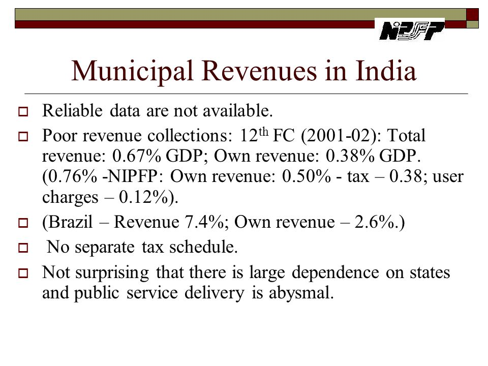 Municipal Revenues in India