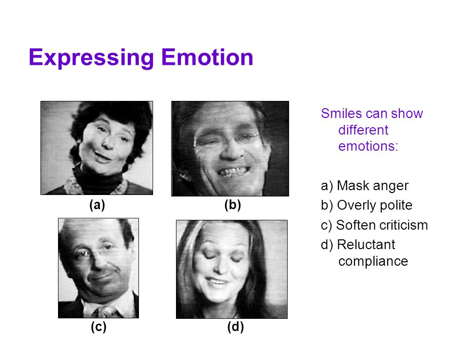 Expressing Emotion Smiles can show different emotions: a) Mask anger