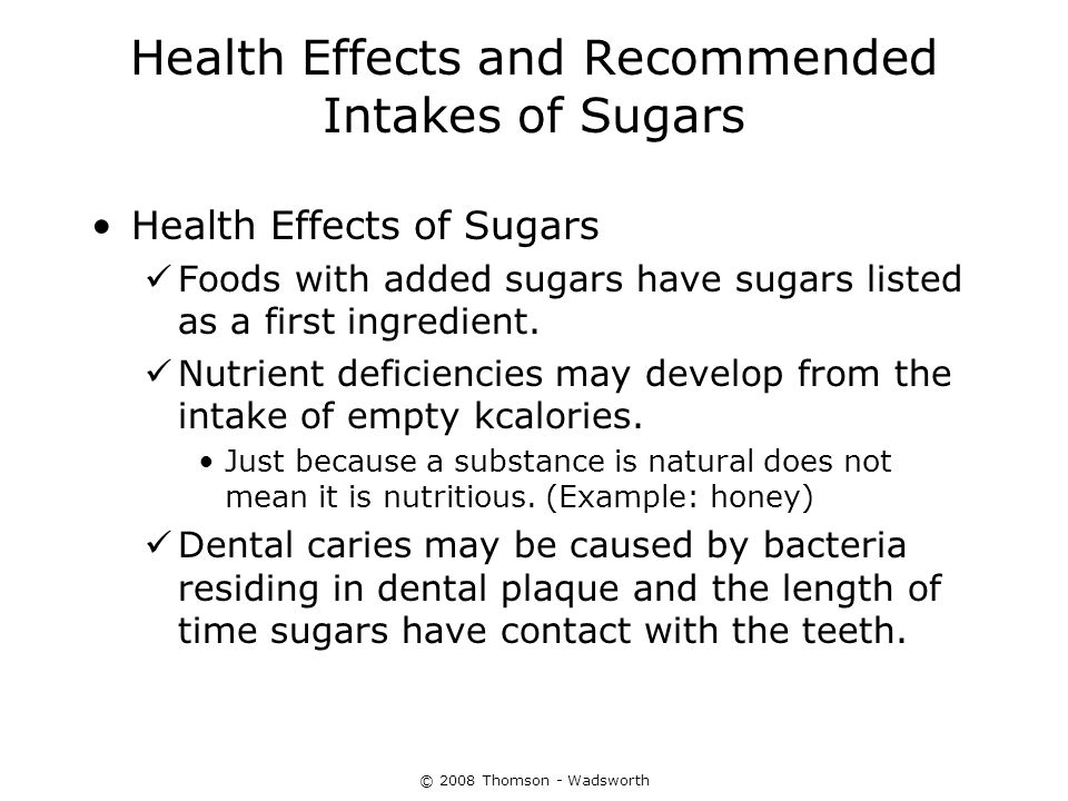 Health Effects and Recommended Intakes of Sugars
