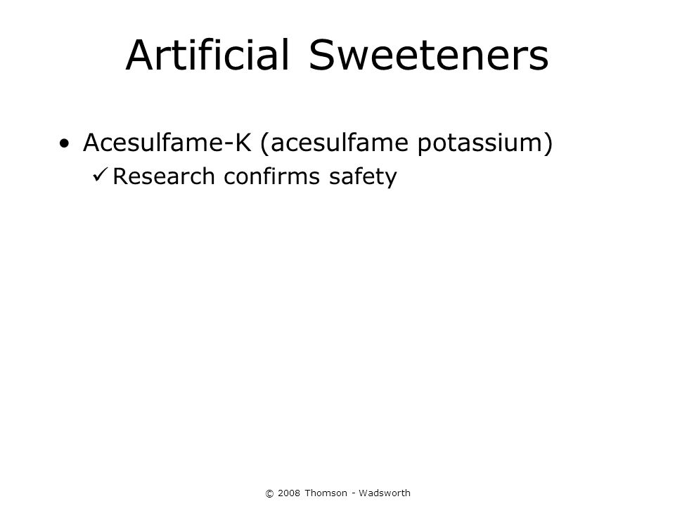 Artificial Sweeteners