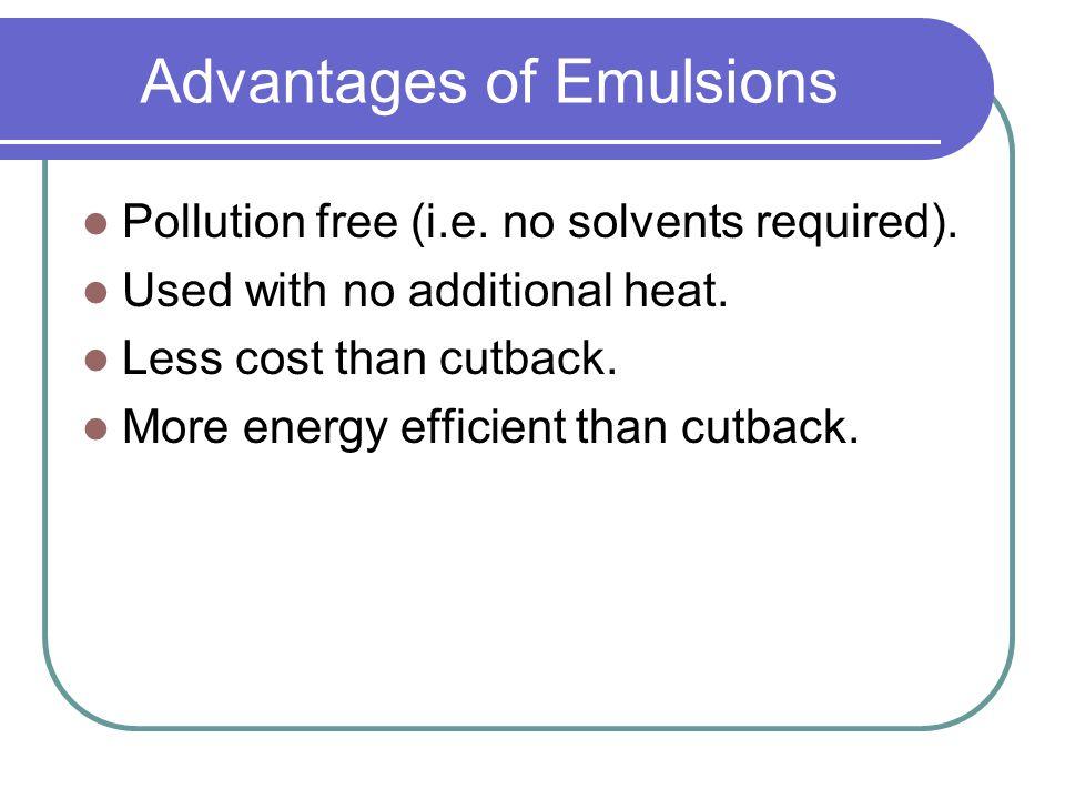 Advantages of Emulsions