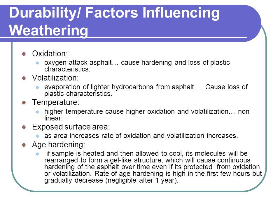Durability/ Factors Influencing Weathering