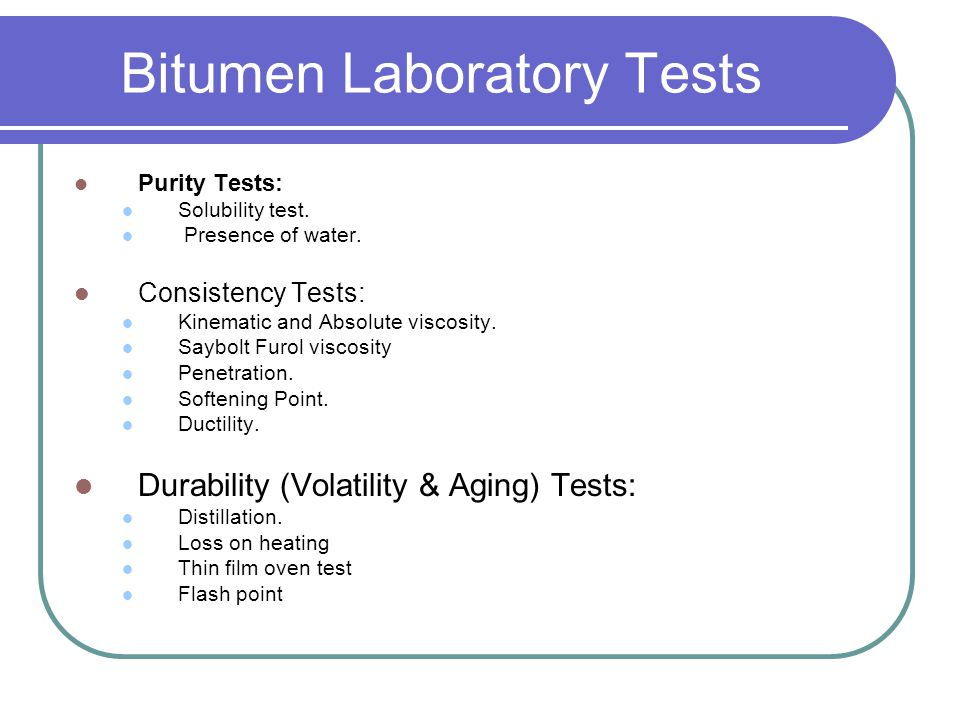 Bitumen Laboratory Tests
