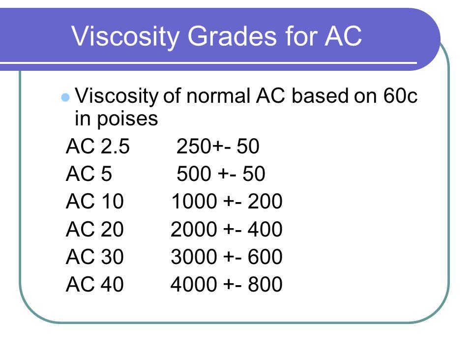 Viscosity Grades for AC