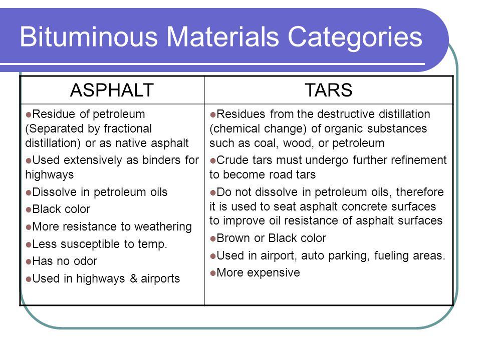 Bituminous Materials Categories