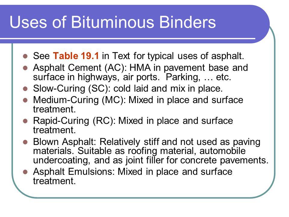 Uses of Bituminous Binders