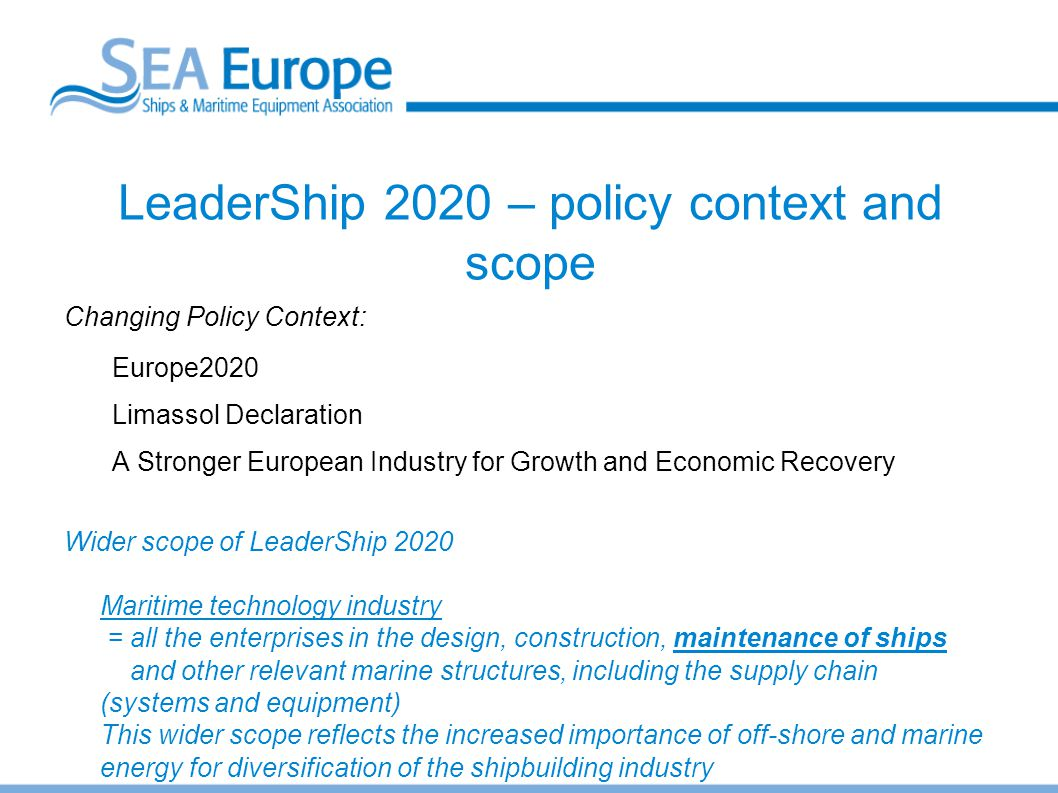 LeaderShip 2020 – policy context and scope