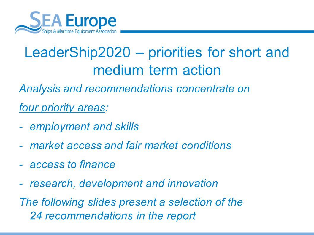 LeaderShip2020 – priorities for short and medium term action