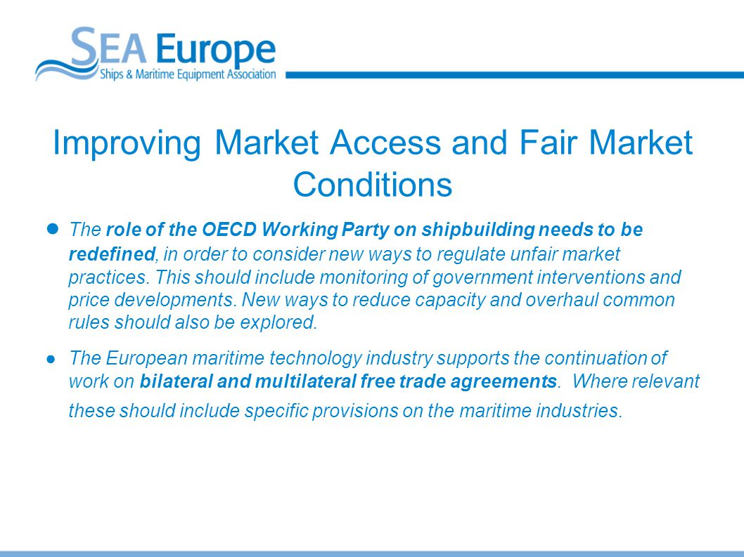 Improving Market Access and Fair Market Conditions