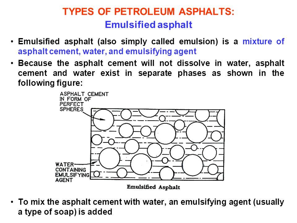 TYPES OF PETROLEUM ASPHALTS: Emulsified asphalt