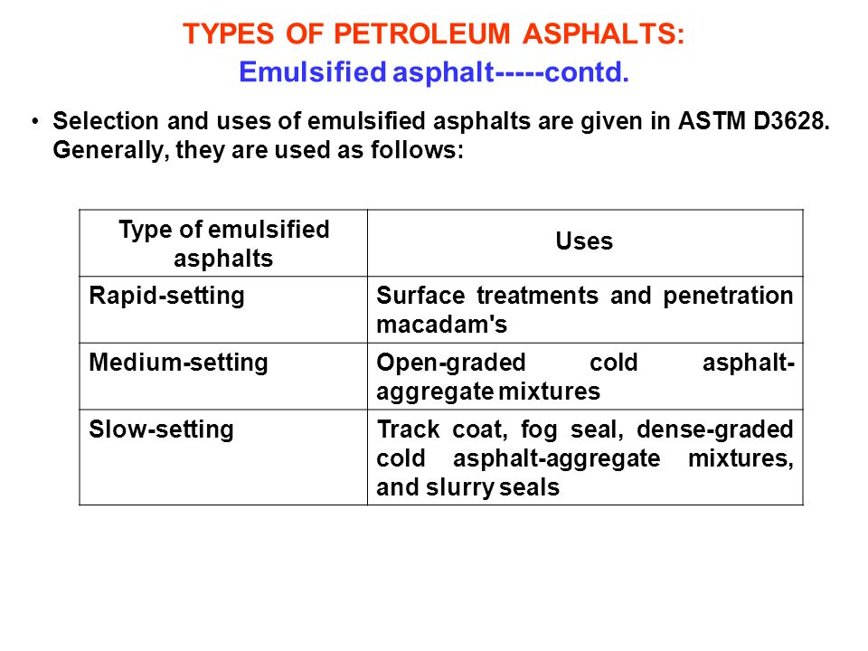 TYPES OF PETROLEUM ASPHALTS: Emulsified asphalt-----contd.
