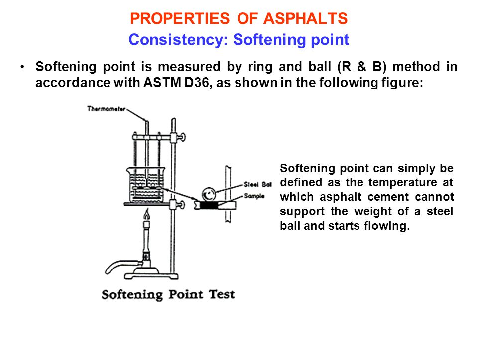 PROPERTIES OF ASPHALTS Consistency: Softening point