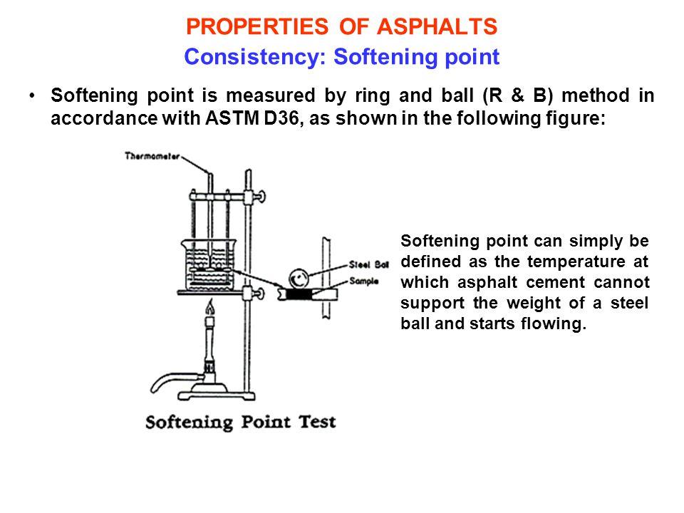 PROPERTIES OF ASPHALTS Consistency: Softening point